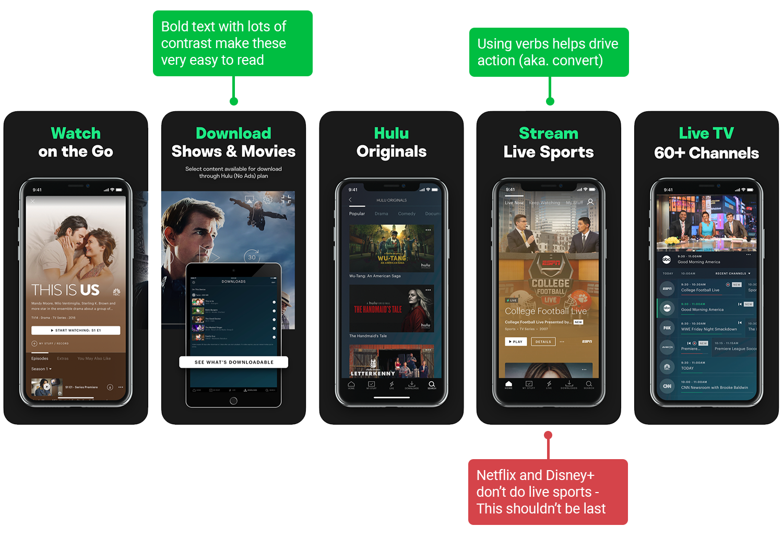 Screenshot analysis of Hulu | ASO tools by Appfigures
